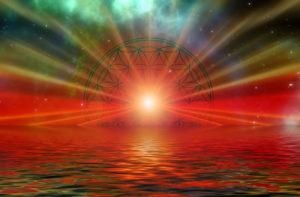 expansion de conscience, fleur de vie sur soleil couchant